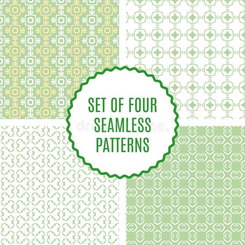 Vectorreeks van vier naadloze uitstekende patronen royalty-vrije illustratie