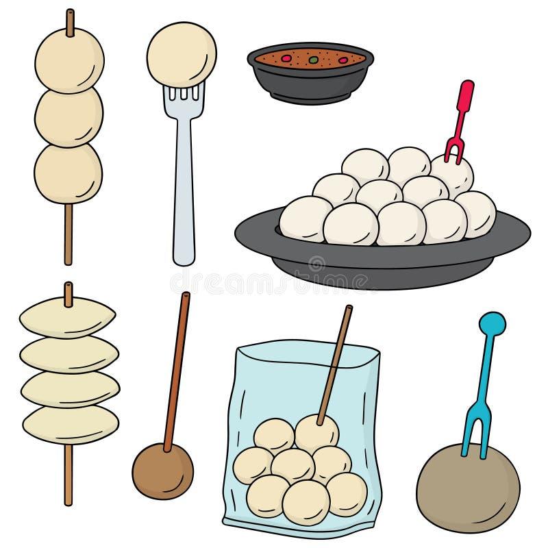 Vectorreeks van vleesballetje, vissenbal, varkensvleesbal en garnalenbal royalty-vrije illustratie