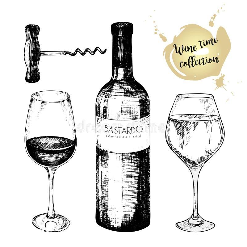 Vectorreeks van wijninzameling Gegraveerde uitstekende stijl Glazen, fles en kurketrekker Geïsoleerdj op witte achtergrond royalty-vrije illustratie