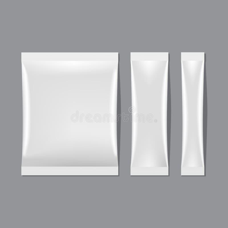 Vectorreeks van Witte Lege Sachet Verpakking royalty-vrije stock afbeelding