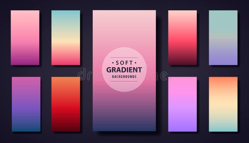 Vectorreeks van zacht gradiëntontwerp als achtergrond Gebruik voor telefoon app, sociale netto behangverhalen, groetkaart, vliege royalty-vrije illustratie