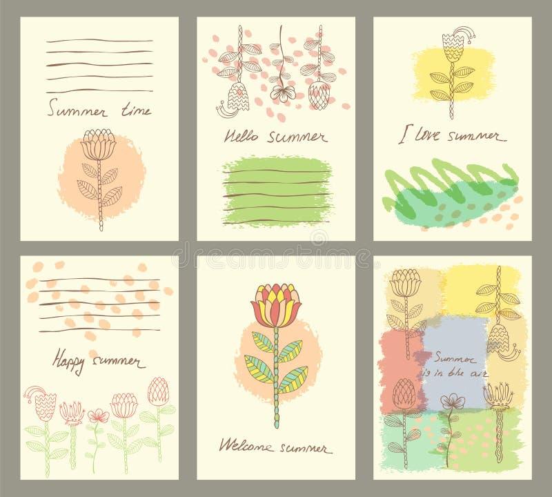 Vectorreeks van zes leuke universele kaarten met hand getrokken bloem vector illustratie