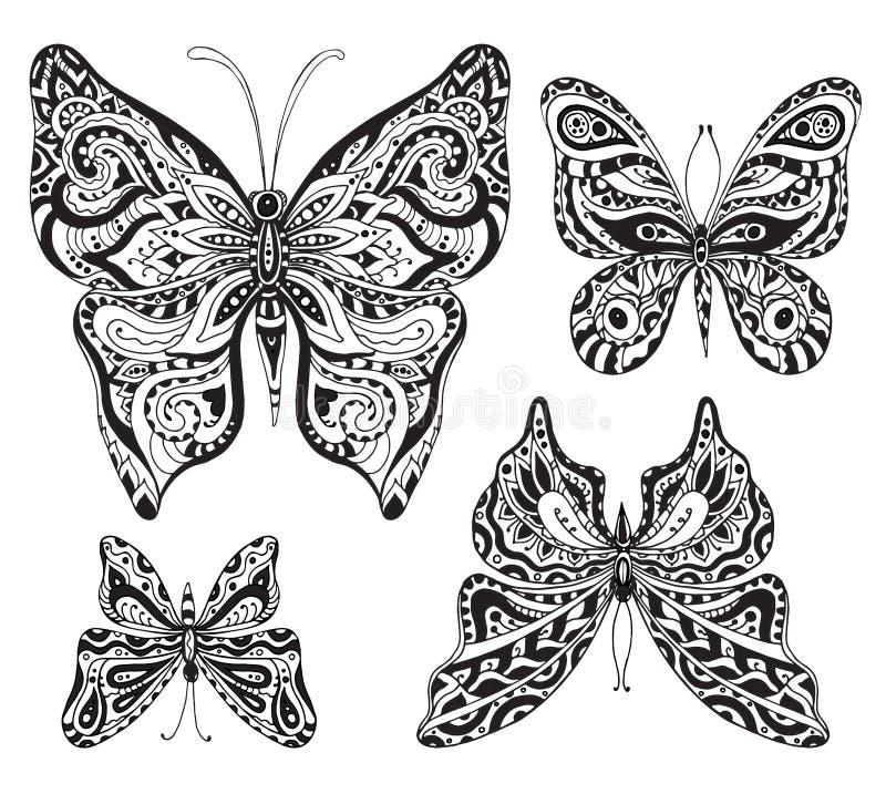 Vectorreeks van zwart-wit siervlinders geïsoleerd o vector illustratie