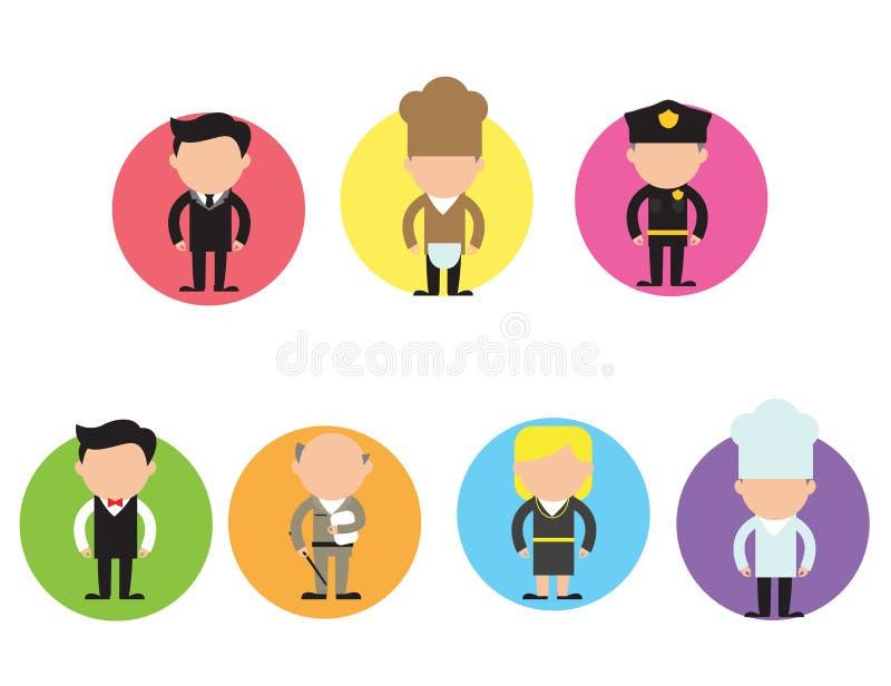 Vectorreeks verschillende beroepskarakters in vlak ontwerp Mannen en vrouwen van verschillende carrières en banen stock illustratie