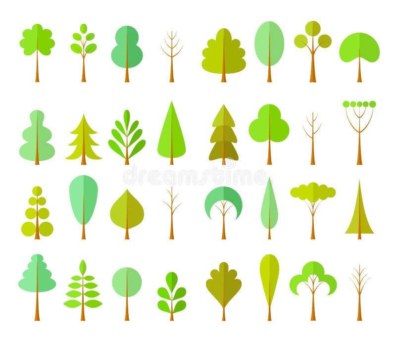 Vectorreeks verschillende boselementen Bomen in een vlakke stijl vector illustratie
