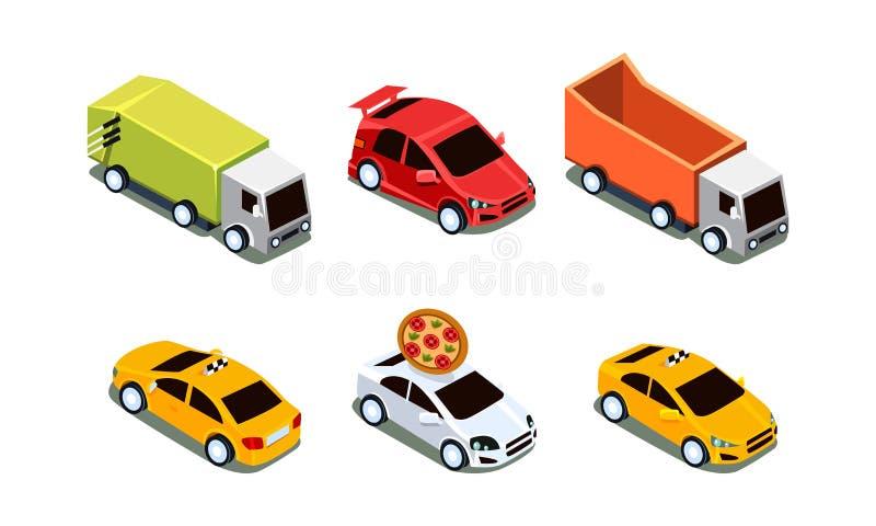 Vectorreeks verschillende isometrische voertuigen Pizzalevering en sportwagen, taxi en zware vrachtwagens Vervoerthema stock illustratie