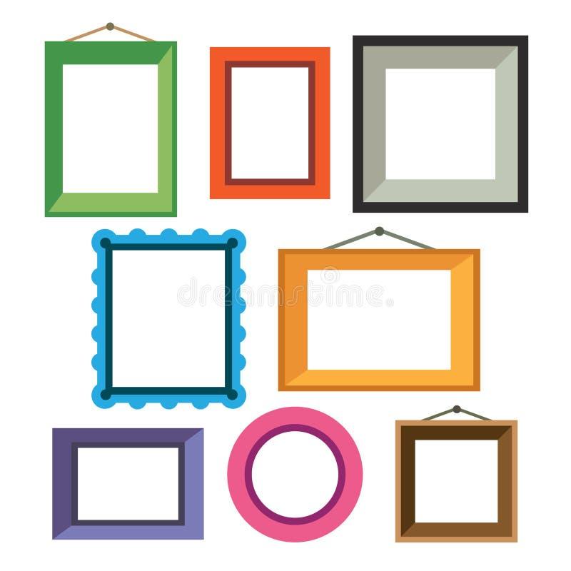 Vectorreeks verschillende kleurrijke fotokaders vector illustratie