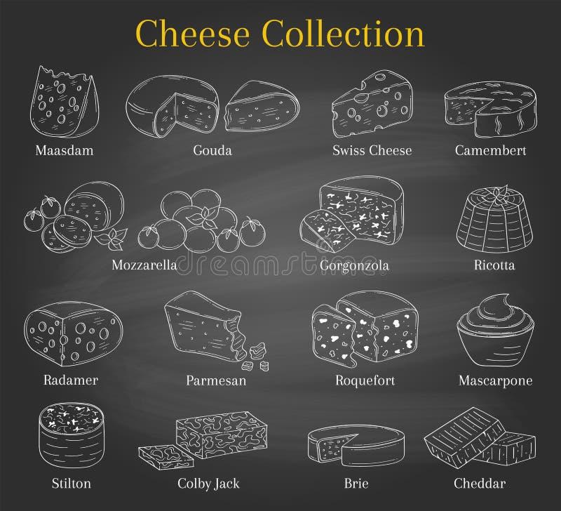 Vectorreeks verschillende types van kaas, hand getrokken illustratie op bordachtergrond vector illustratie