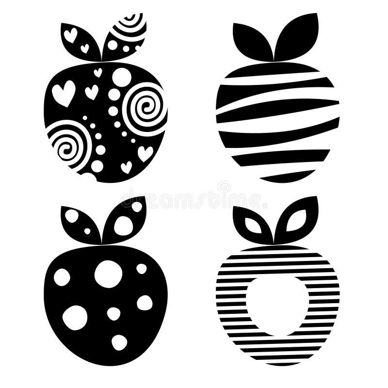 Vectorreeks verschillende vruchten illustraties Decoratieve sier zwart-witte aardbeien die op de witte achtergrond worden geïsole stock illustratie