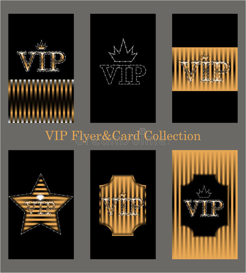 Vectorreeks VIP kaarten met gouden folie, diamanten stock illustratie
