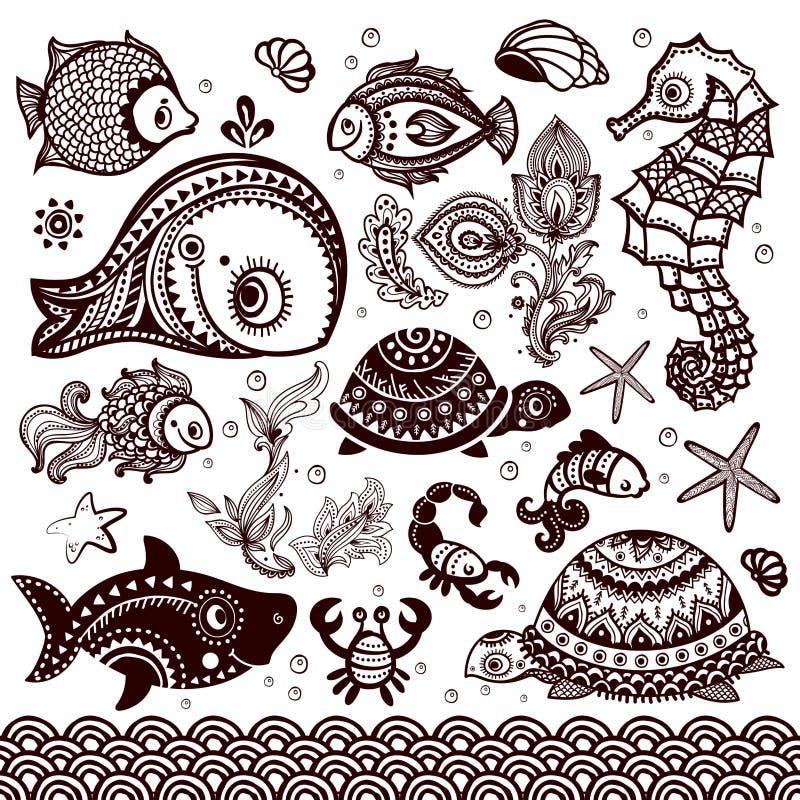 Vectorreeks vissen en bloemen met ornamenten vector illustratie