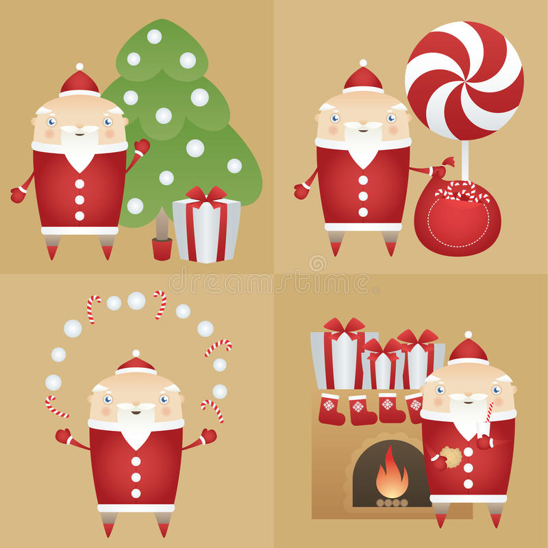 Vectorreeks vlak pictogram Santa Claus met giftdoos, pijnboomboom, zak, suikergoed, koekje, melk, open haard vector illustratie