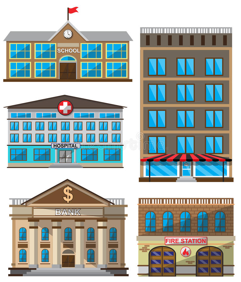 Vectorreeks vlakke gebouwen decoratieve pictogrammen royalty-vrije illustratie