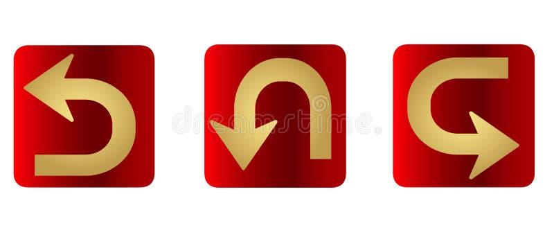 Vectorreeks vlakke gouden pijlen voor website - gidsen, wijzers royalty-vrije illustratie