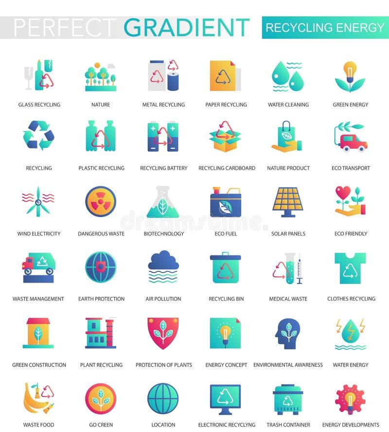 Vectorreeks in vlakke gradiënt pictogrammen van de recyclingsenergie royalty-vrije illustratie