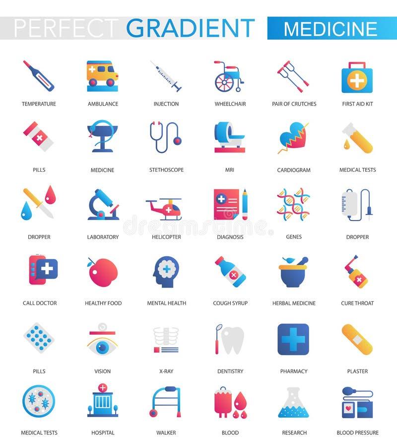Vectorreeks in vlakke Medische gradiënt en gezondheidszorgpictogrammen royalty-vrije illustratie