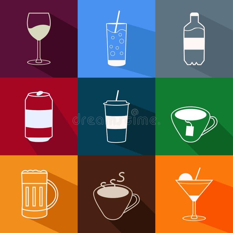 Vectorreeks vlakke moderne dranken en drankenpictogrammen stock illustratie