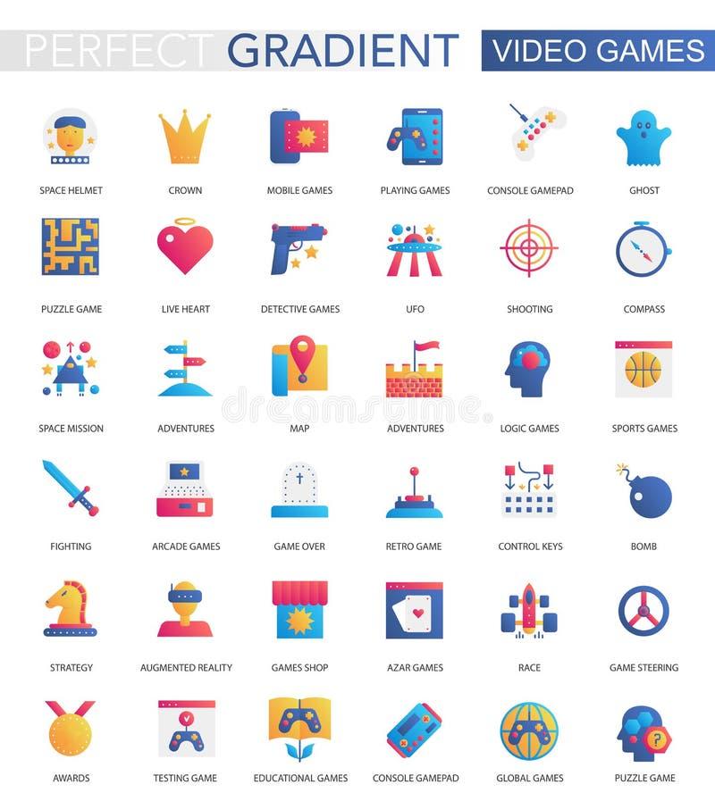 Vectorreeks in vlakke pictogrammen van gradiëntvideospelletjes stock illustratie