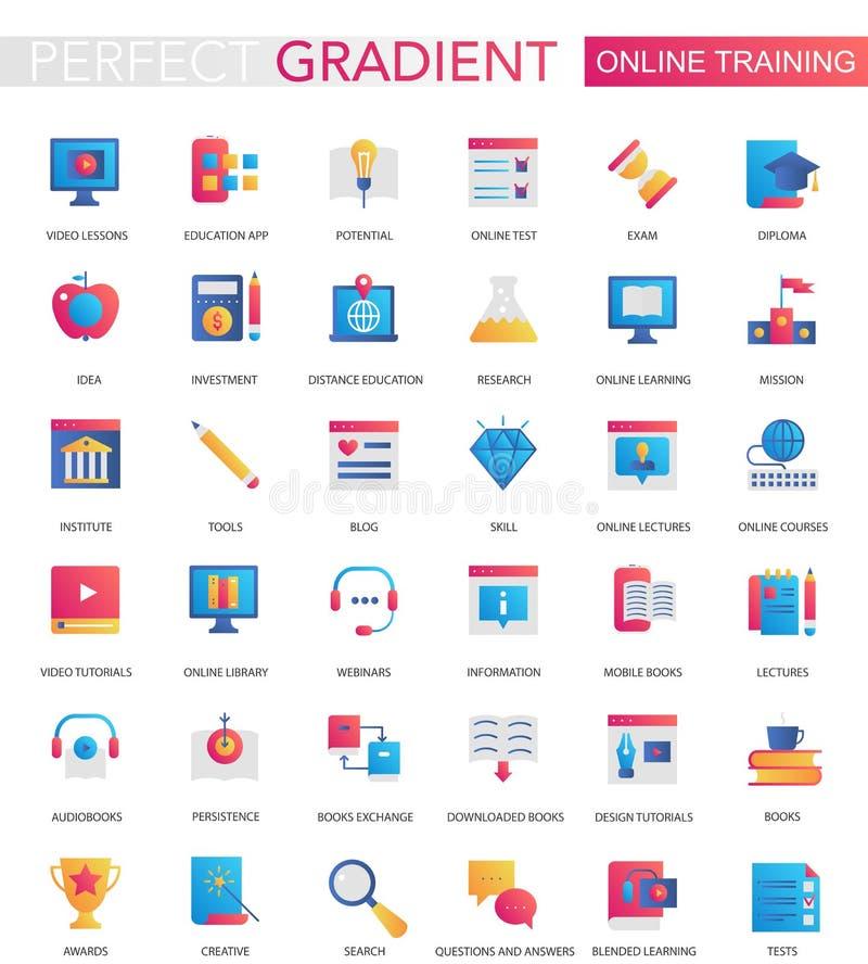 Vectorreeks in vlakke pictogrammen van het gradiënt Online onderwijs royalty-vrije illustratie