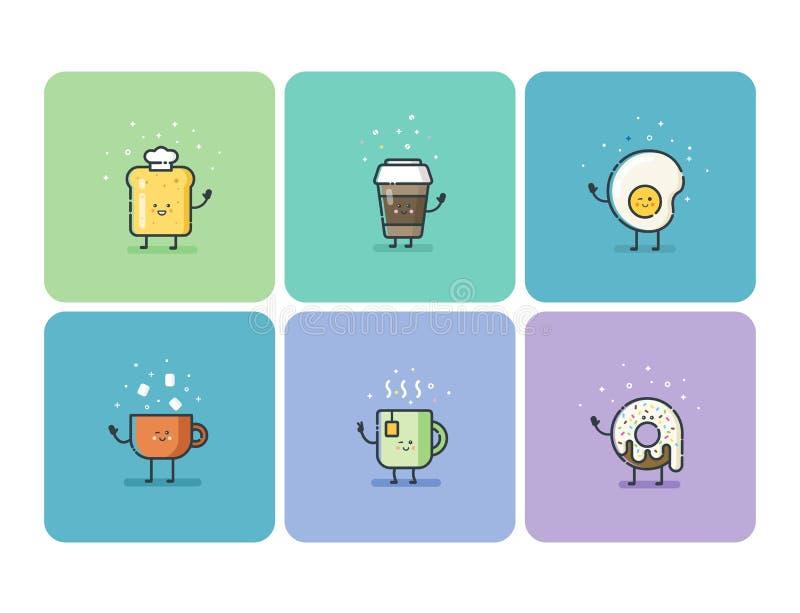 Vectorreeks vlakke pictogrammen van het ontbijtvoedsel, leuk beeldverhaalkarakter stock illustratie