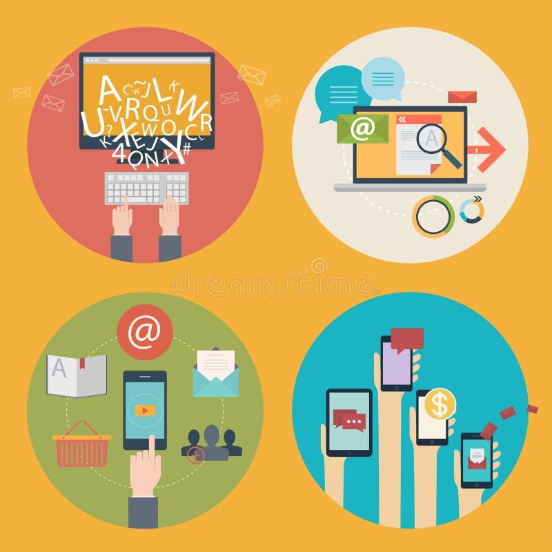 Vectorreeks vlakke pictogrammen van het ontwerpconcept voor het blogging, Webontwerp, seo, sociale media Bedrijfsconcepten die -  vector illustratie