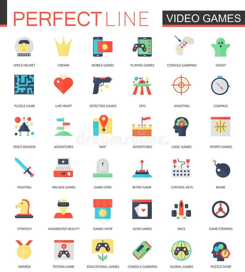 Vectorreeks vlakke Videospelletjespictogrammen royalty-vrije illustratie