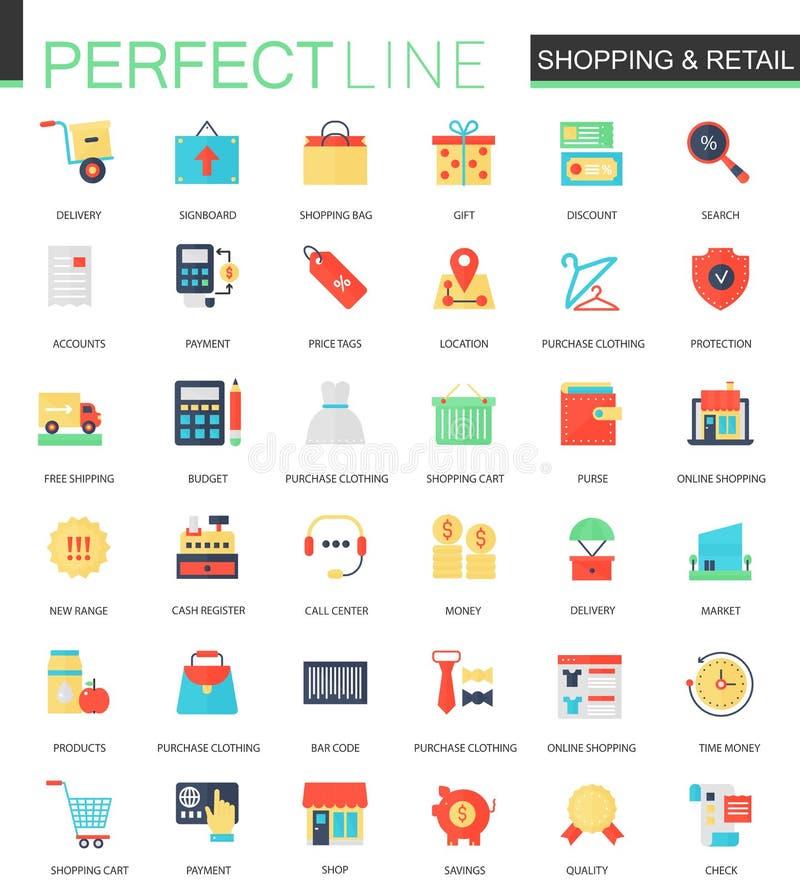 Vectorreeks vlakte het Winkelen en kleinhandelspictogrammen vector illustratie