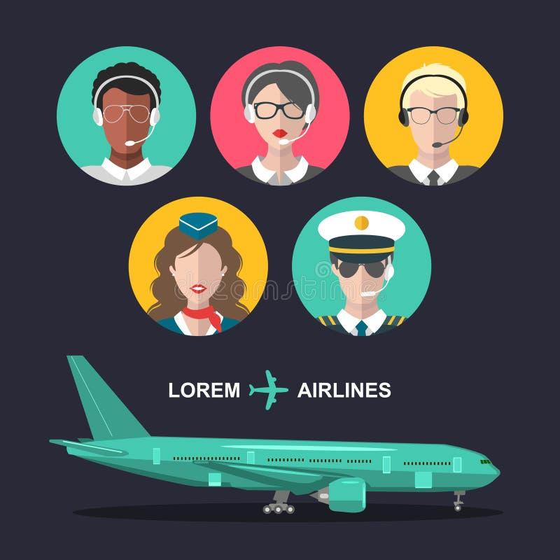 Vectorreeks vliegtuig en cabinepersoneel en van het luchthaventeam pictogrammen in vlakke stijl Luchtvaart mannelijke, vrouwelijk vector illustratie