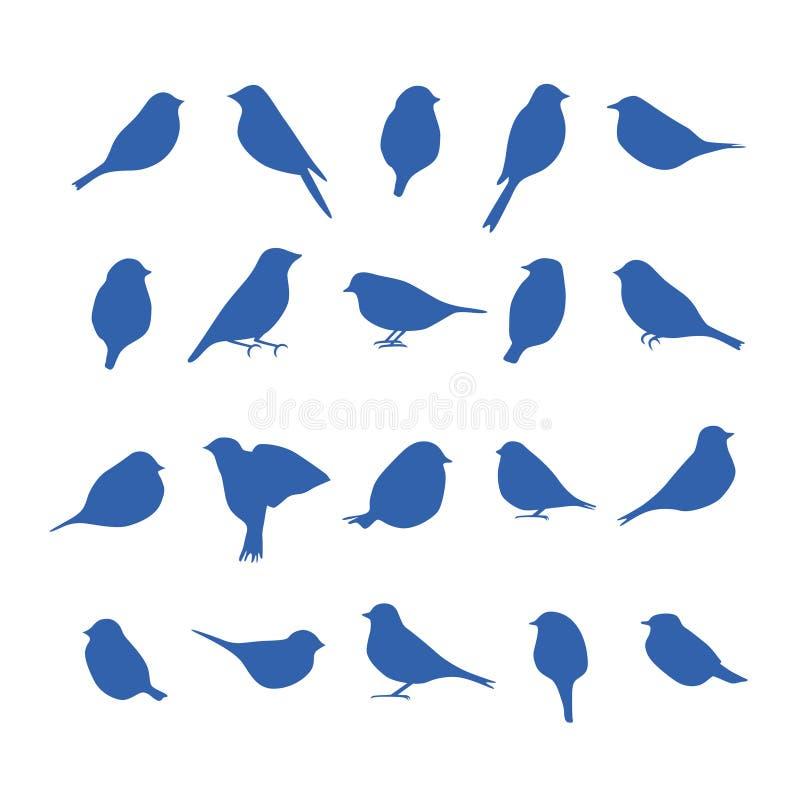 Vectorreeks vogelsilhouetten stock illustratie