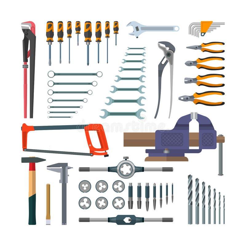Vectorreeks werkende hulpmiddelen in vlakke stijl Ontwerpelementen en pictogrammen op witte achtergrond Bouwhuis vector illustratie