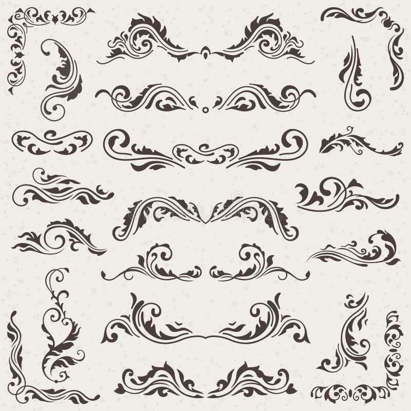 Vectorreeks wervelingselementen voor ontwerp Kalligrafische paginadecoratie, Etiketten, banners, antieke en barokke Kaders vector illustratie