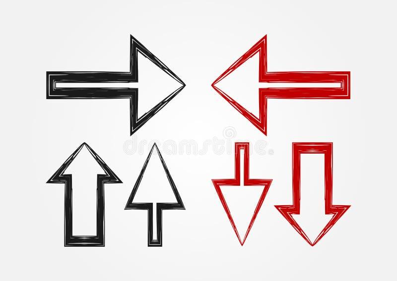 Vectorreeks wijzers Drie pijlpictogrammen royalty-vrije illustratie