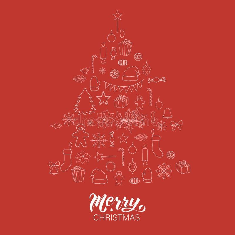 Vectorreeks witte Kerstmis of Nieuwjaarelementen op rode achtergrond die als Kerstboom gestalte wordt gegeven stock illustratie