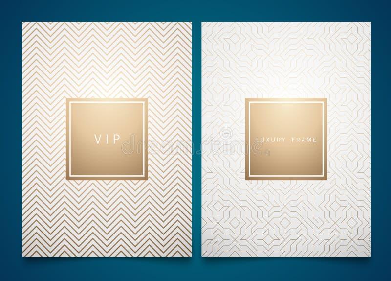 Vectorreeks witte verpakkende malplaatjes met verschillende gouden lineaire geometrische patroontextuur voor luxeproduct In ontwe royalty-vrije illustratie