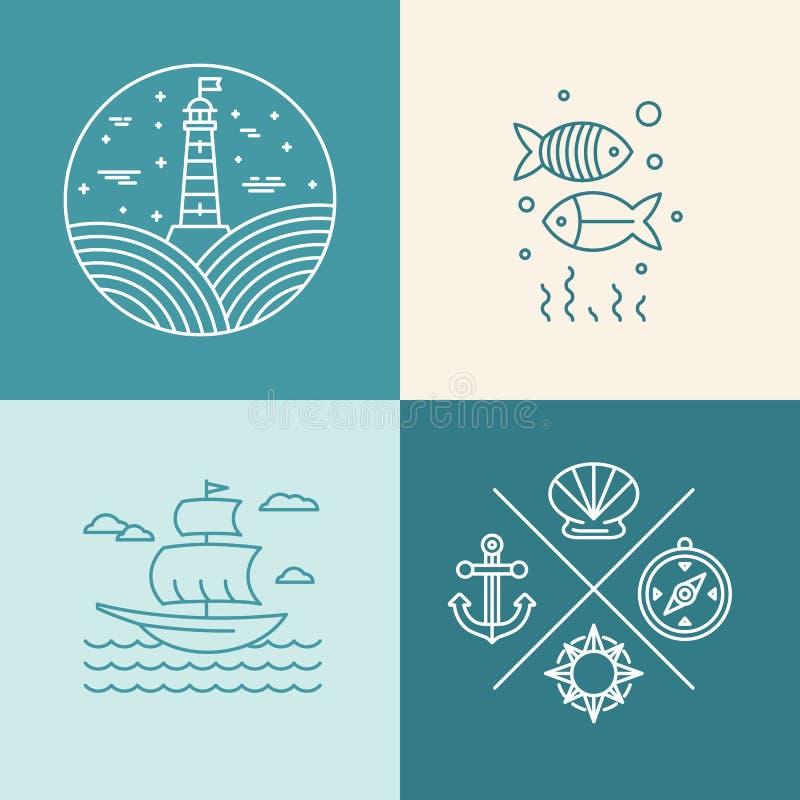 Vectorreeks zeevaartpictogrammen royalty-vrije illustratie