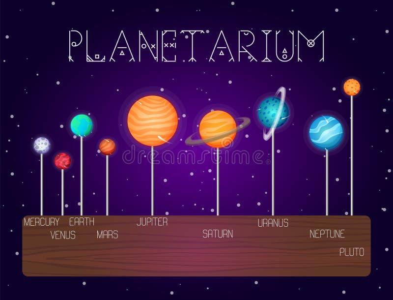 Vectorreeks zonnestelselplaneten in de stijl van het lijnbeeldverhaal De elementen van het kosmische ruimteontwerp, pictogrammen stock illustratie