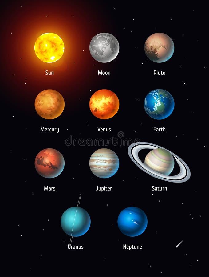 Vectorreeks Zonnestelselvoorwerpen Zon, Maan, Pluto en Planeten op ruimteachtergrond vector illustratie