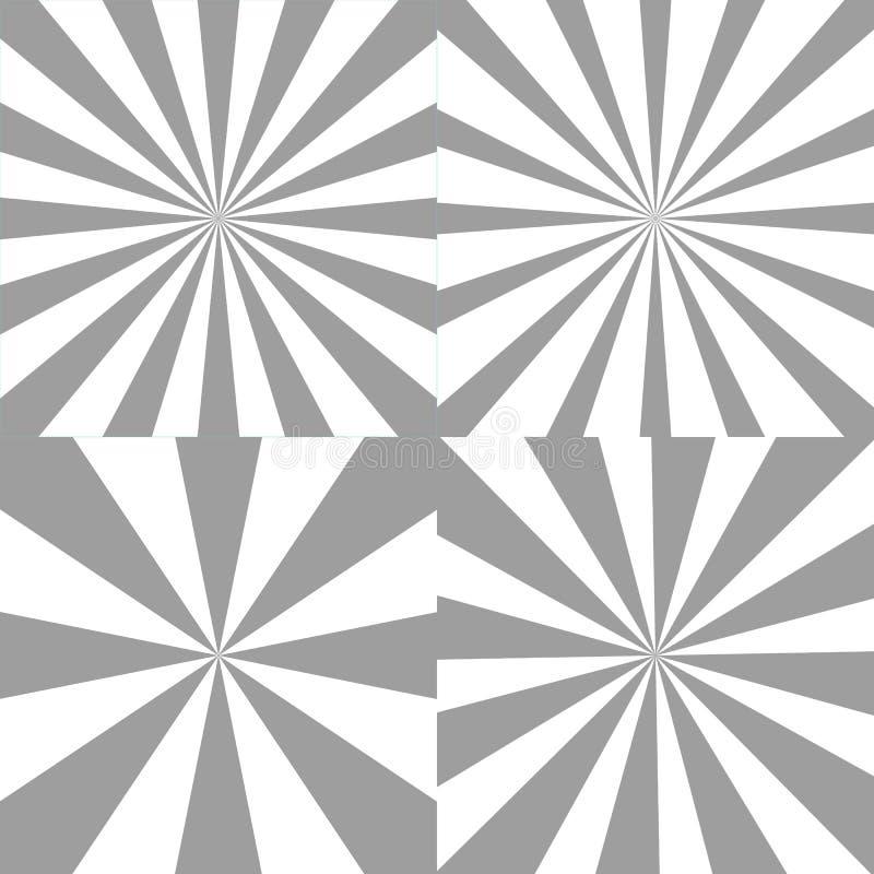 Vectorreeks zonnestraalachtergronden Radiale stralen van verschillende grootte cirkel lichtstralen Abstracte Illustratie stock illustratie