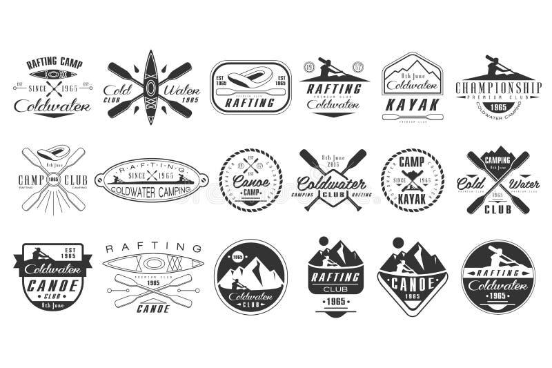 Vectorreeks zwart-wit emblemen voor coldwaterclub De emblemen van het kanokamp Extreme watersport Uitstekende rafting kentekens royalty-vrije illustratie