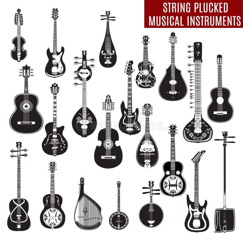 Vectorreeks zwart-witte koord geplukte muzikale instrumenten in vlak ontwerp stock illustratie
