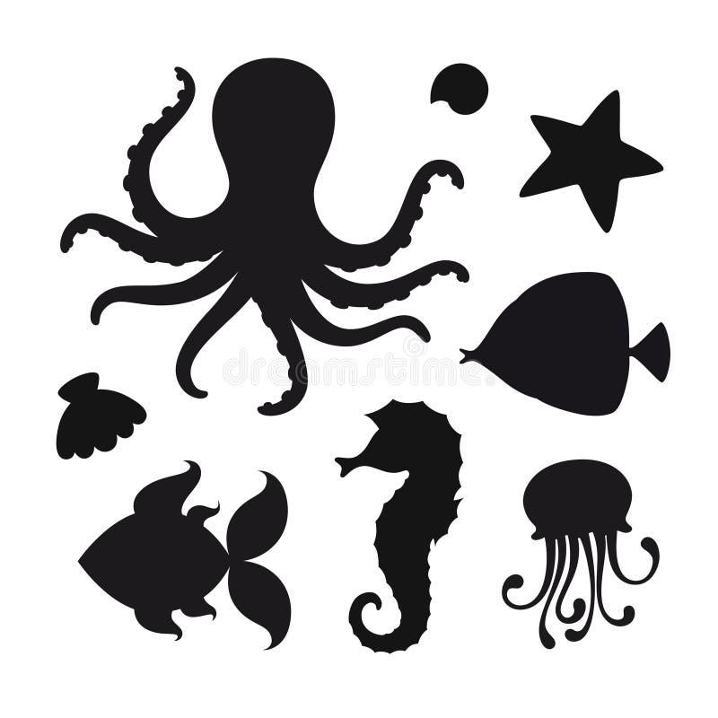 Vectorreeks zwarte silhouetten van mariene inwoners royalty-vrije illustratie