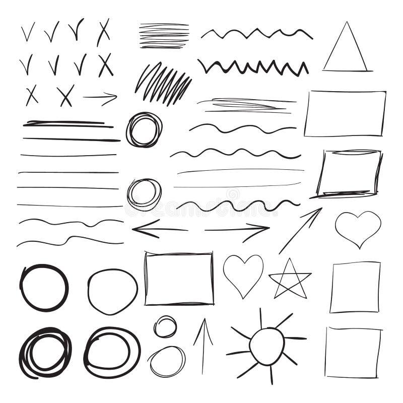 Vectorreeks zwarte slagen van de inktborstel stock illustratie