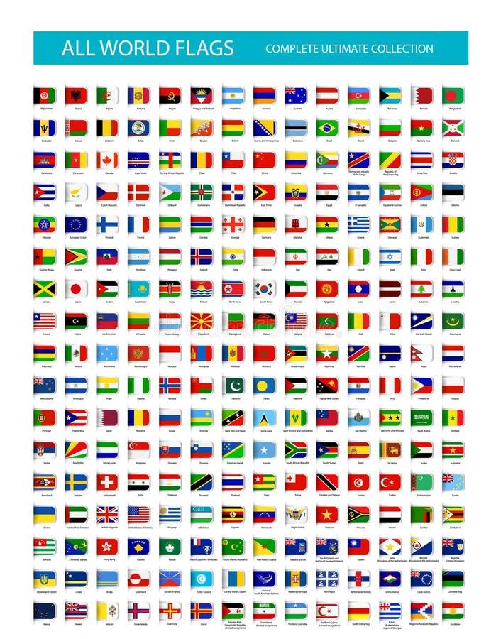 Vectorreferentie Vlakke Pictogrammen Alle Vlaggen vector illustratie