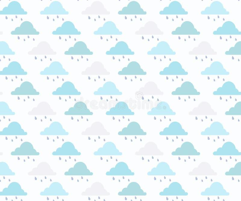 Vectorregen getrokken hand als achtergrond, naadloos patroon stock illustratie