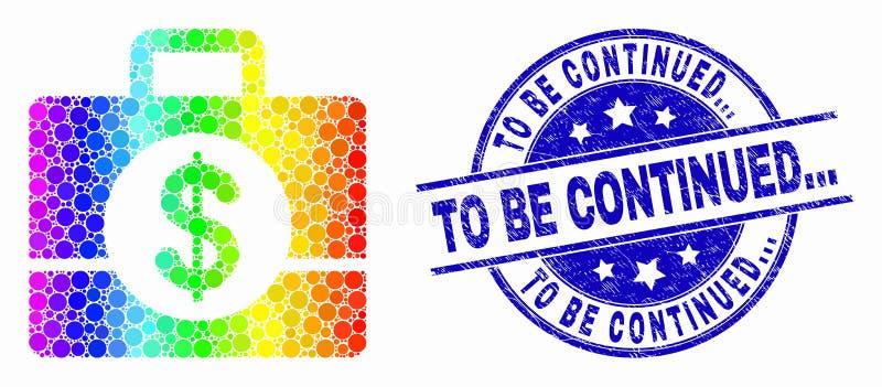 Vectorregenboog Gekleurd Pixel Bedrijfsgevalpictogram en Gekrast om zijn verdergegaan Zegelverbinding royalty-vrije illustratie