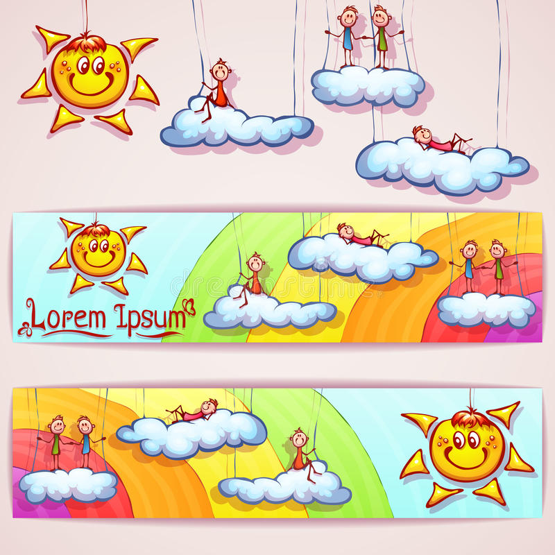 Vectorregenboogbanner met smileyzon, wolken en vector illustratie