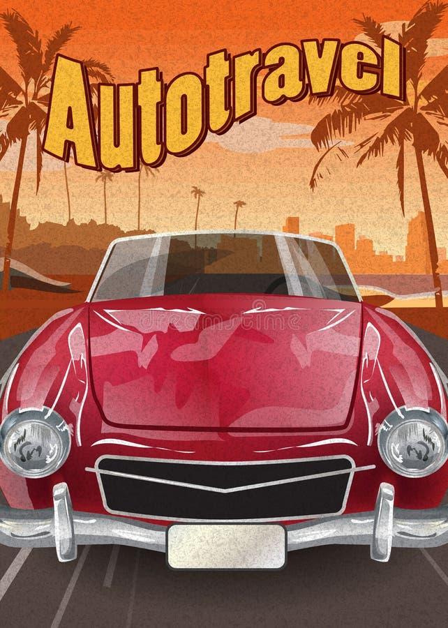 Vectorreis retro auto op het tropische landschap stock illustratie