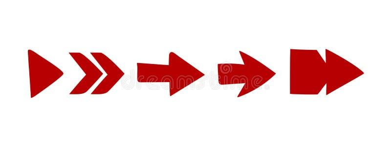 Vectorrood van de reeks divers stijlen van de pijl Rood Pijl op witte vector stock illustratie