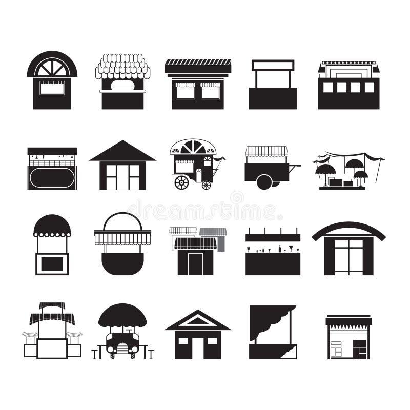 Vectors food shop black circle on white background. Vectors food shop black on white background stock illustration