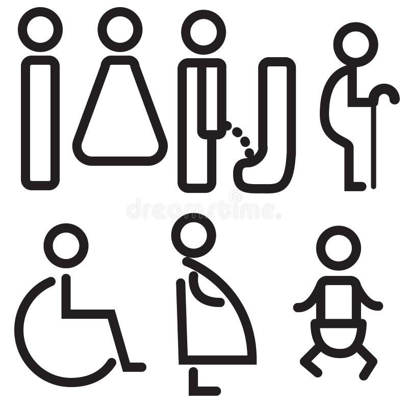 Vectors icon toilet symbol sign stock illustration